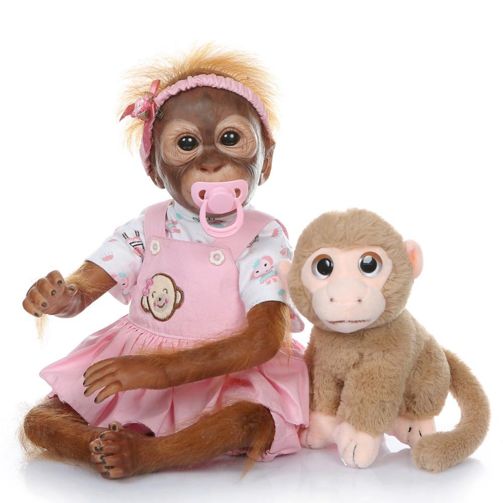 52CM Handmade Detailed Paint Reborn Baby Monkey Newborn Baby Collectible Art