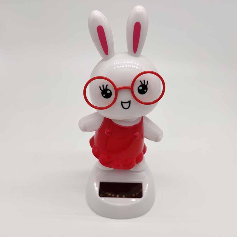 Car Doll Ornaments ABS Material Creative Solar Car Shaking Head Cartoon Gifts Decorative Accessories red_11cm