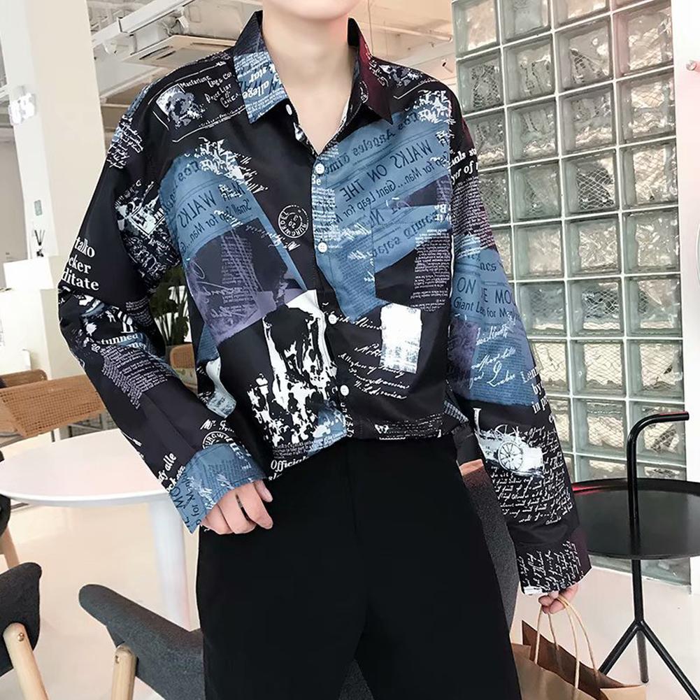 Men Autumn Fashion Vintage Printing Shirt Long Sleeve Coat Tops 9930 black_M