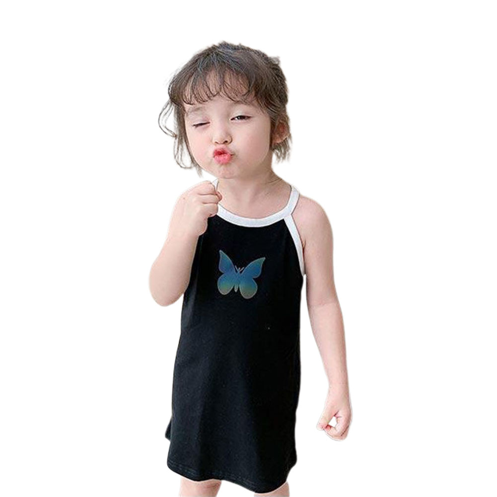 Girls Dress Pure Cotton Reflective Color Changing Butterfly-pattern Skirt for 1-4 Years Old Kids black_90cm