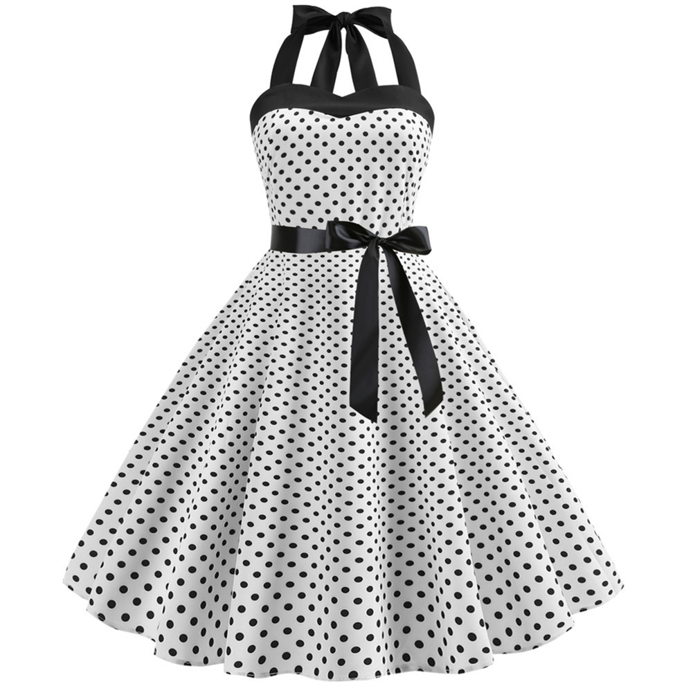 Women Fashion Bright Dot Pattern Strapless Large Hem Dress white_M