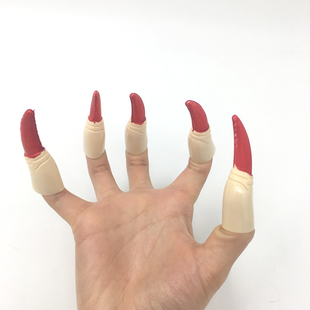 10pcs Zombie Witch Fake Fingers Nail Set Cover Halloween Costume Party Decoration Prop Witch Ghost Fake Finger Claws red