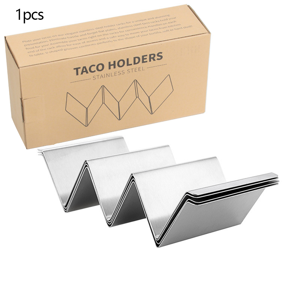 Taco Rack Stainless Steel Taco  Holder Stand Kitchen Cooking Accessories Two-piece suit (with border)