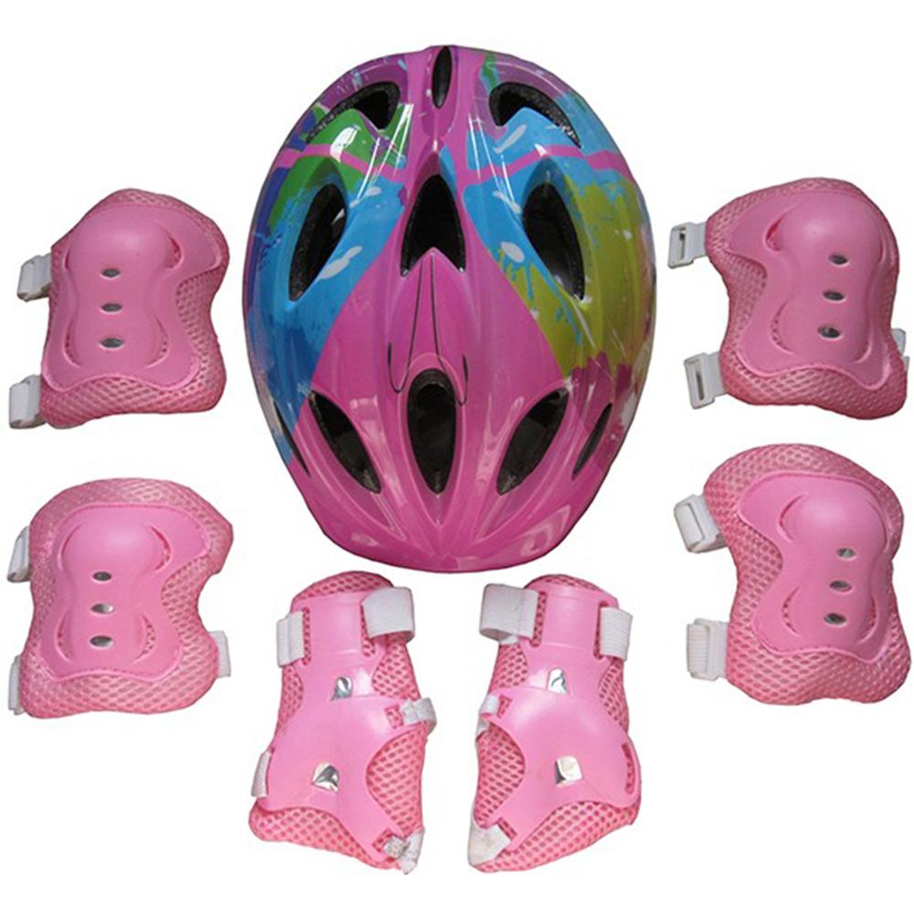 Kids Adjustable Bike Helmet Protect Set with Knee Elbow Wrist Guard for Cycling Biking Skateboard  Pink printing_Children