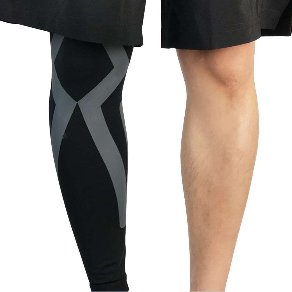 Knee Pads Compression Long Leg Sleeve Protector Gear Breathable Crashproof Antislip Basketball Protective Pad Support Guard for Running Riding Walking Fitness Black / Gray Single XL 565mm