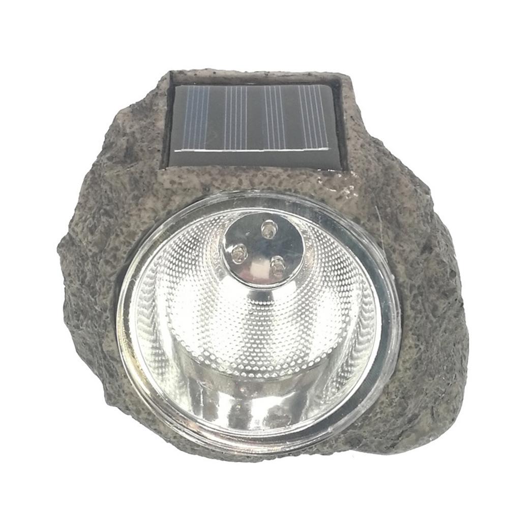 3LEDs Solar Powered Lawn Lamp Resin Stone Shape Light for Outdoor Landscaping Lighting 3LED