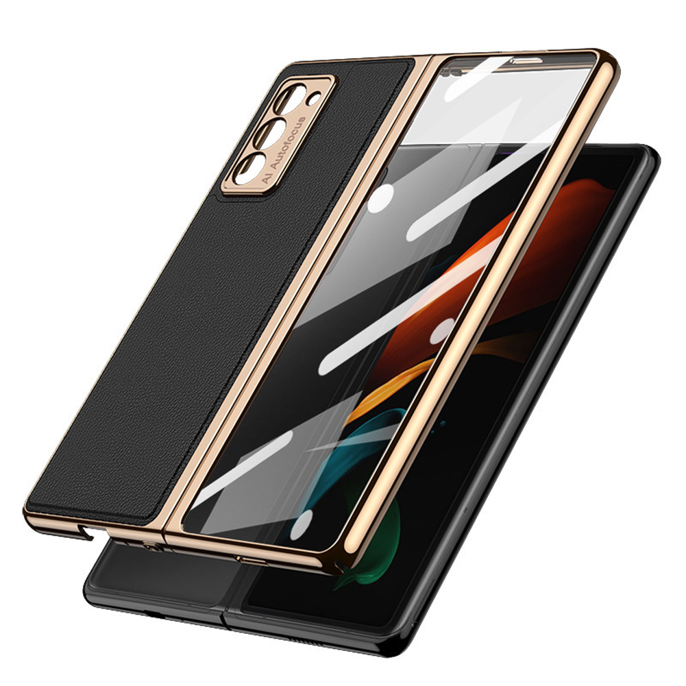 For Samsung  Z  Fold2 Mobile  Phone  Cover Pu All-inclusive Anti-drop Leather Folding Tempered Glass Screen Protector Golden