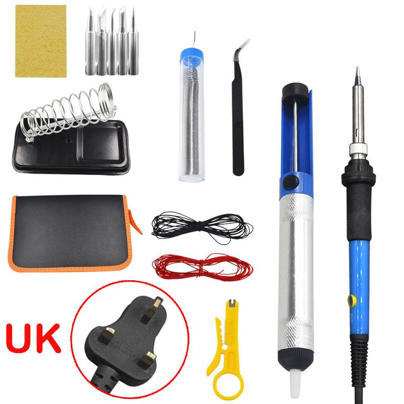 15Pcs Soldering Iron Kit Electronics 60W Adjustable Temperature Welding Tool 220V UK Plug 15-piece set