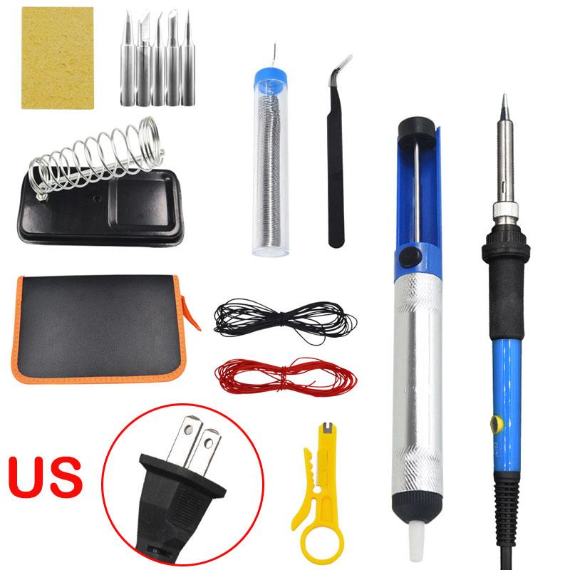 15Pcs Soldering Iron Kit Electronics 60W Adjustable Temperature Welding Tool 110V US Plug 15-piece set
