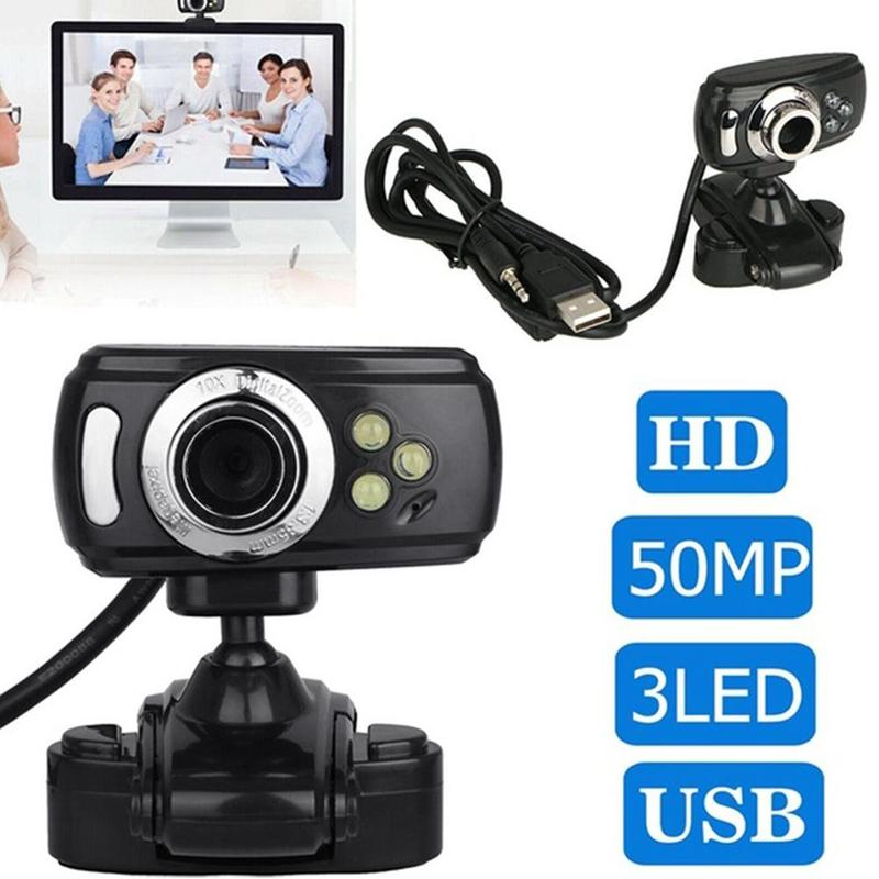 HD Webcam With Mic Night Vision Megapixel Web Cam With Clip Holder For Computer PC Laptop Desktop black