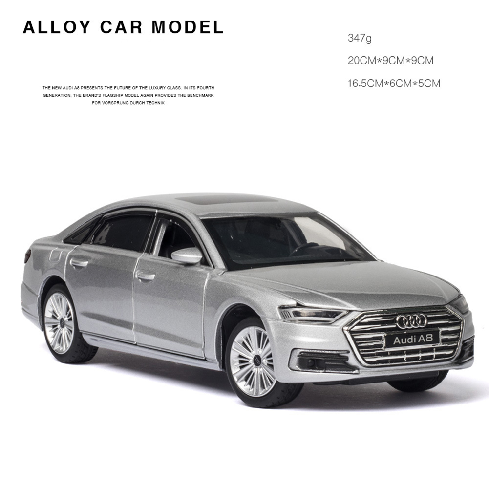 1:32 Alloy Car Model Collectiion 6 Openable Doors Return Power Music Light Toy Silver