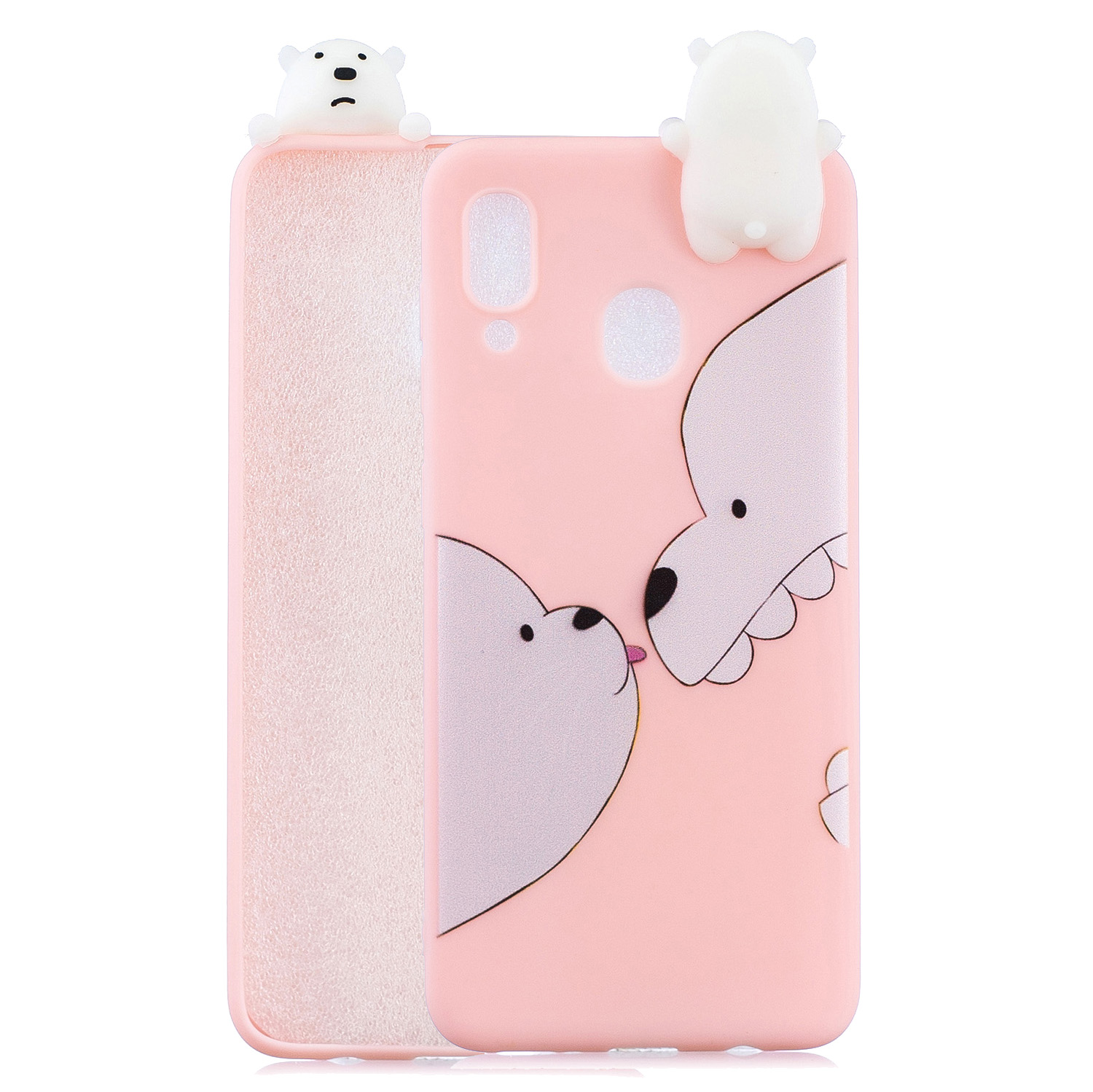 For Samsung A10S A20S Color Painting Pattern Drop Protection Soft TPU Mobile Phone Case+Back Cover Bracket Big white bear