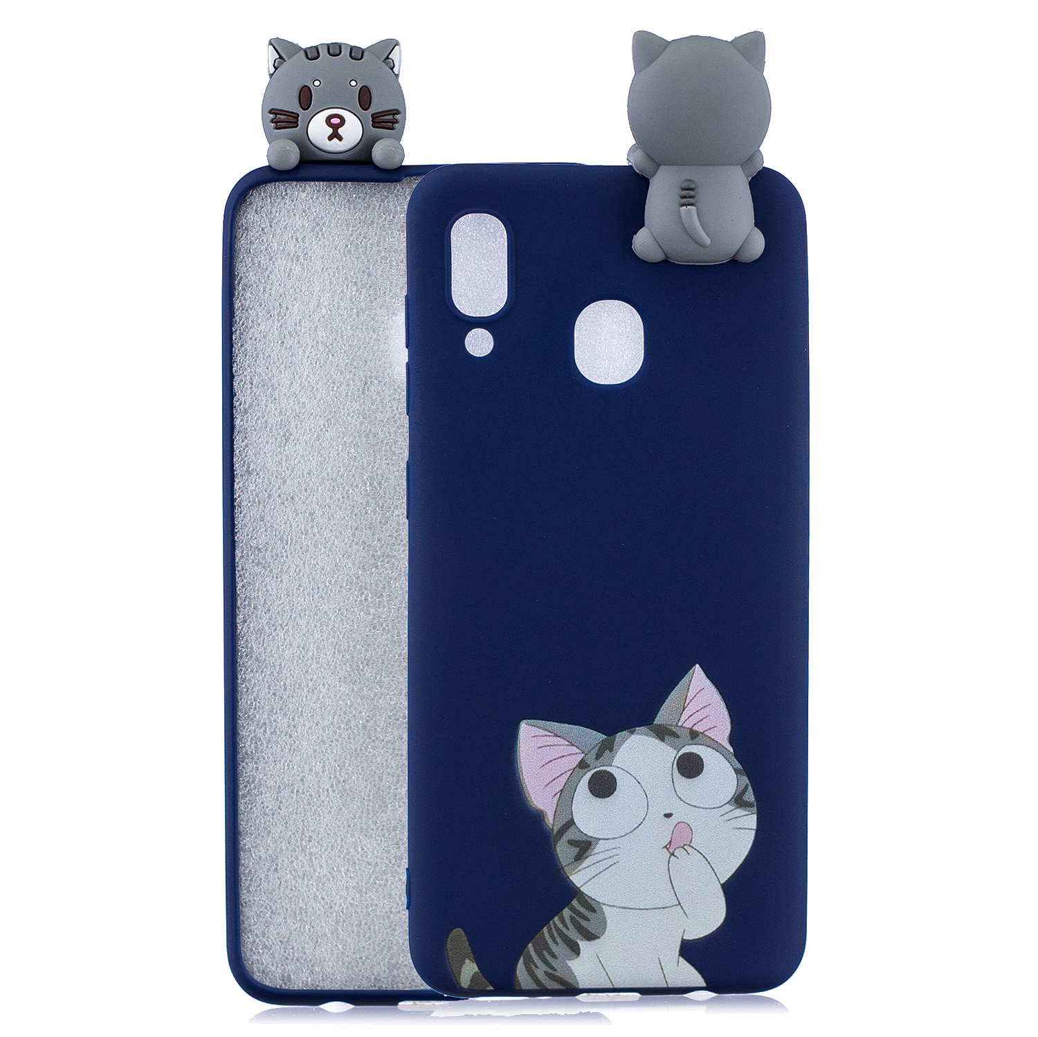 For Samsung A10S A20S Color Painting Pattern Drop Protection Soft TPU Mobile Phone Case+Back Cover Bracket big face cat