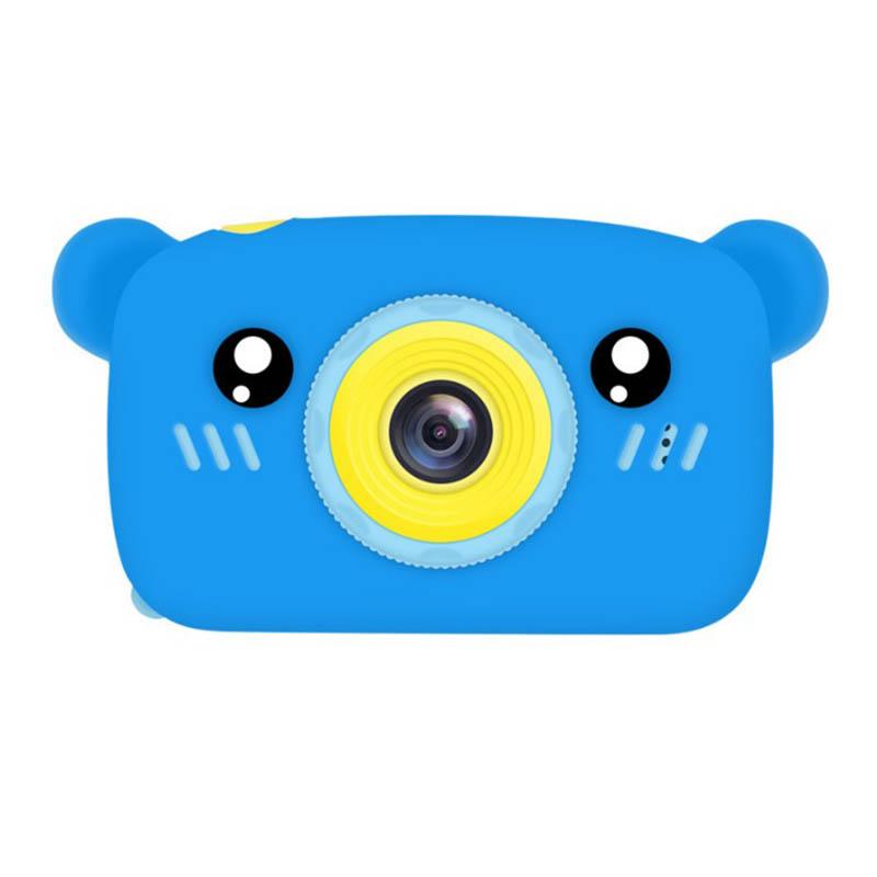 Portable Children Camera Digital Mini Bear Cartoon Camera Long Battery Life Camera blue