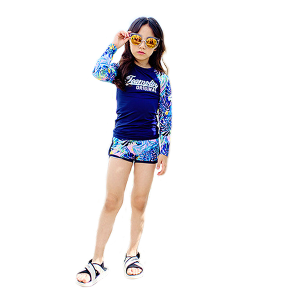 Kids Boys Girls Sunscreen Long Sleeve Quick Dry Muslim Swimsuit for Diving Dark blue_L