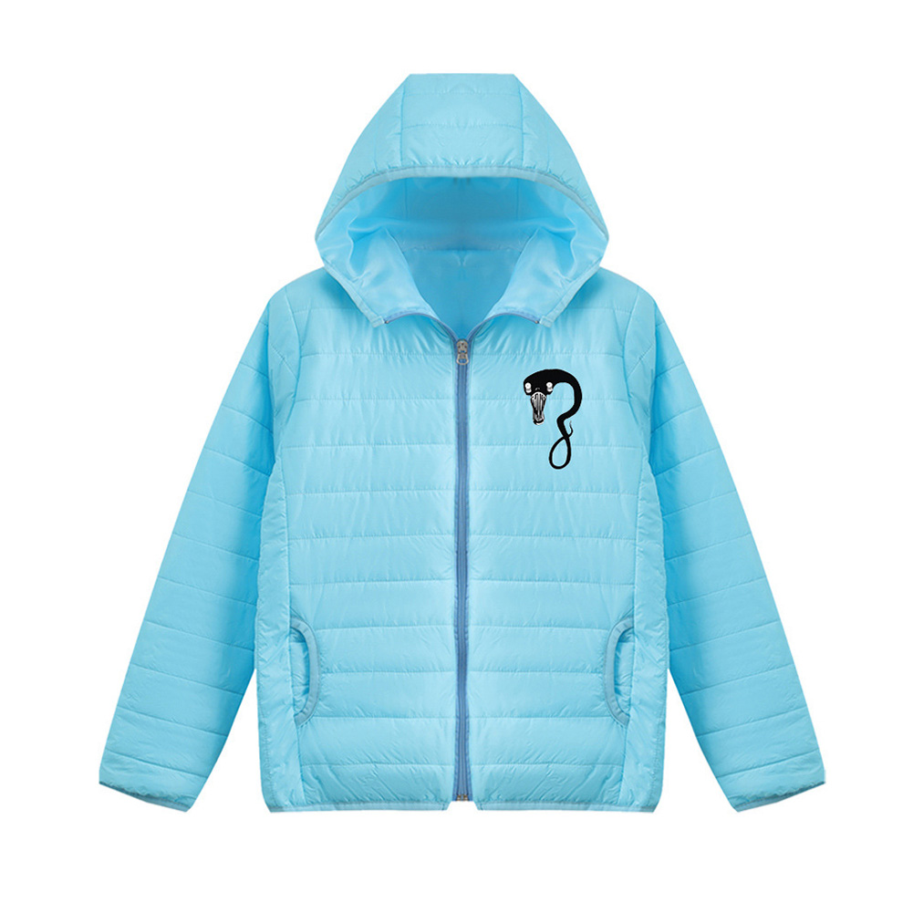 Thicken Short Padded Down Jackets Hoodie Cardigan Top Zippered Cardigan for Man and Woman Blue D_S