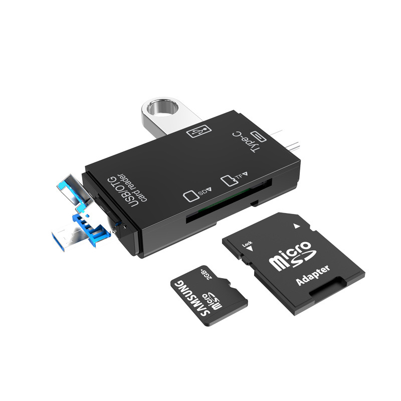 Tf Sd Card  Reader Memory Card Portable Usb2.0 Type C Adapter Multi-function Card Reader black
