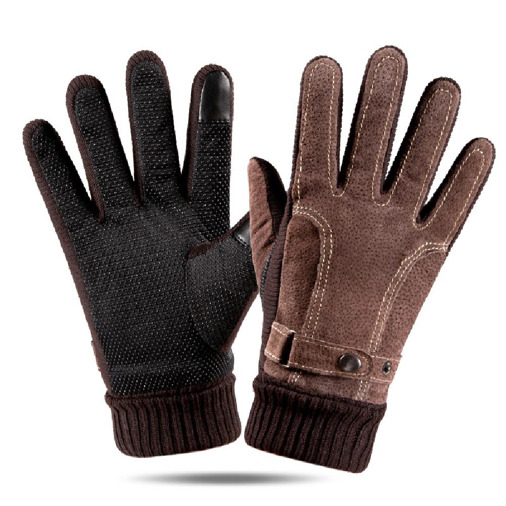 Leather Glove Winter Glove Winter Pigskin Glove Ride Bike  # pattern brown_One size