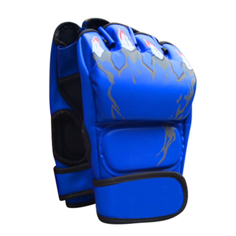 Boxing Gloves Flames Free Combat Gloves Training Sandbag Boxing Gloves blue_As shown