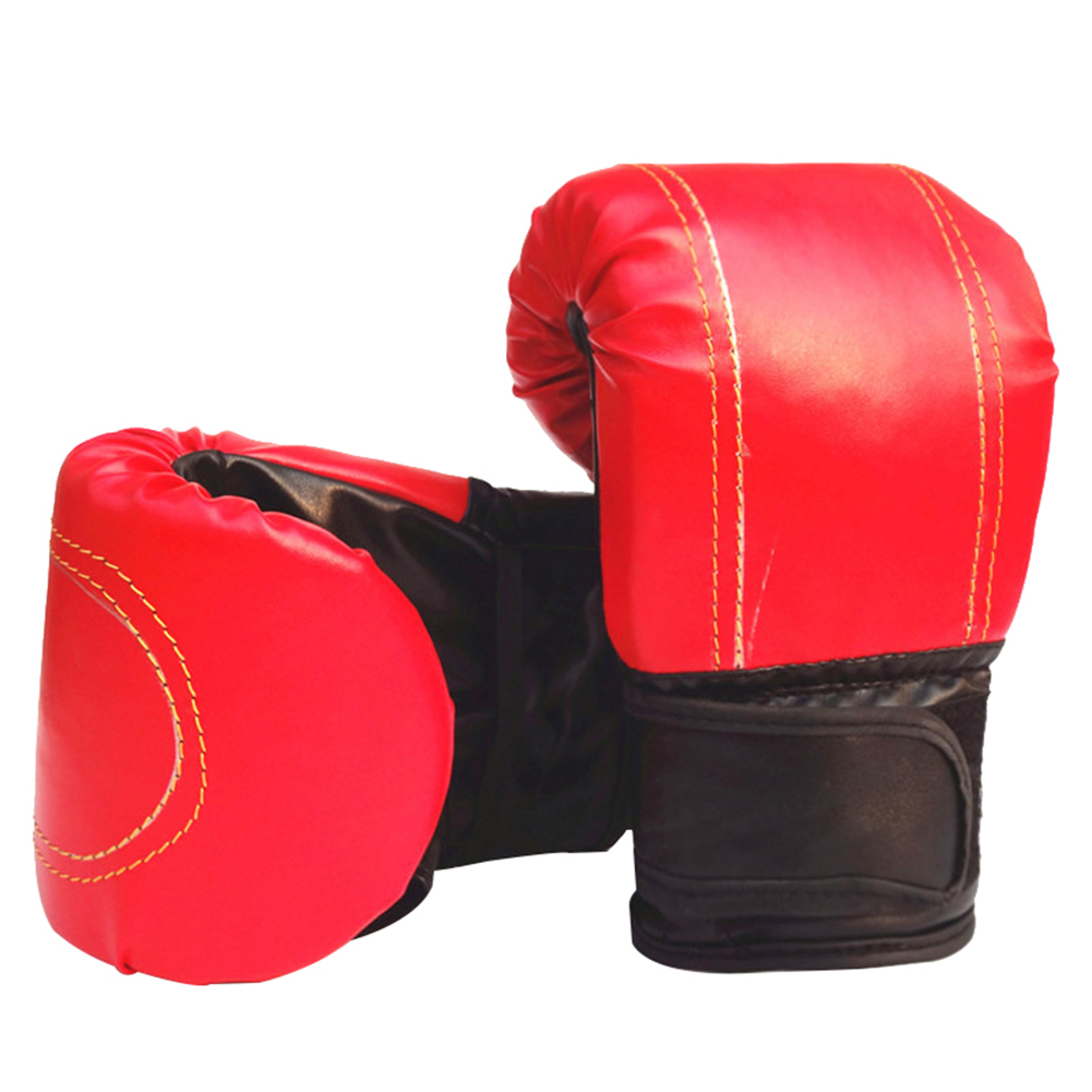 Boxing Gloves Children Boxing Gloves Professional Breathable PU Leather Boxing Training Glove red_Universal