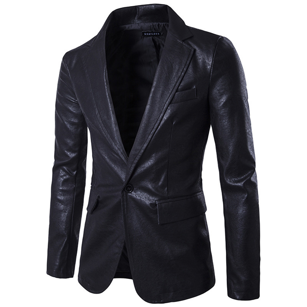 Men Spring Solid Color Slim PU Leather Fashion Single Row One Button Suit Coat Tops black_L
