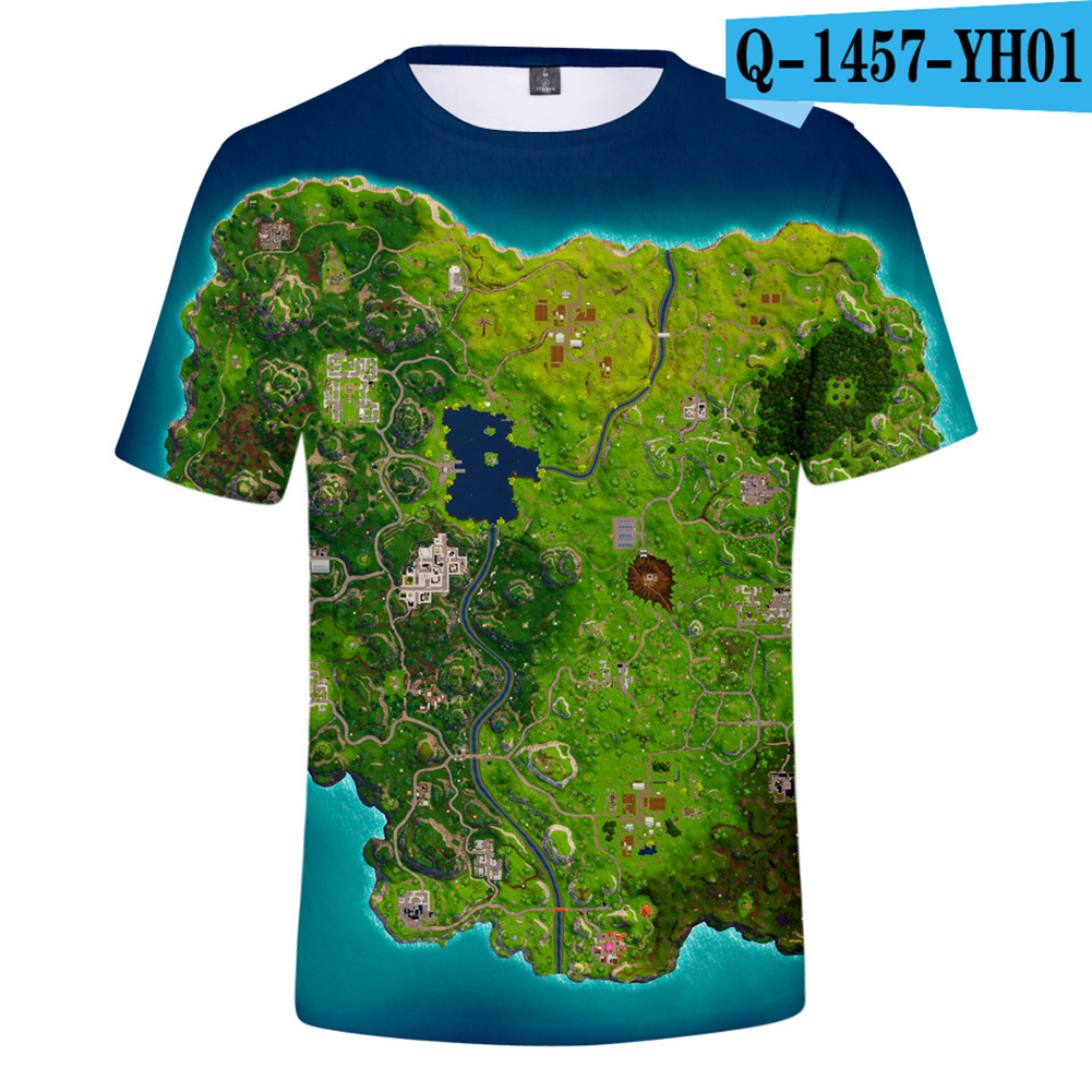 Casual 3D Cartoon Pattern Round Neck T-shirt Picture color AE_XXS