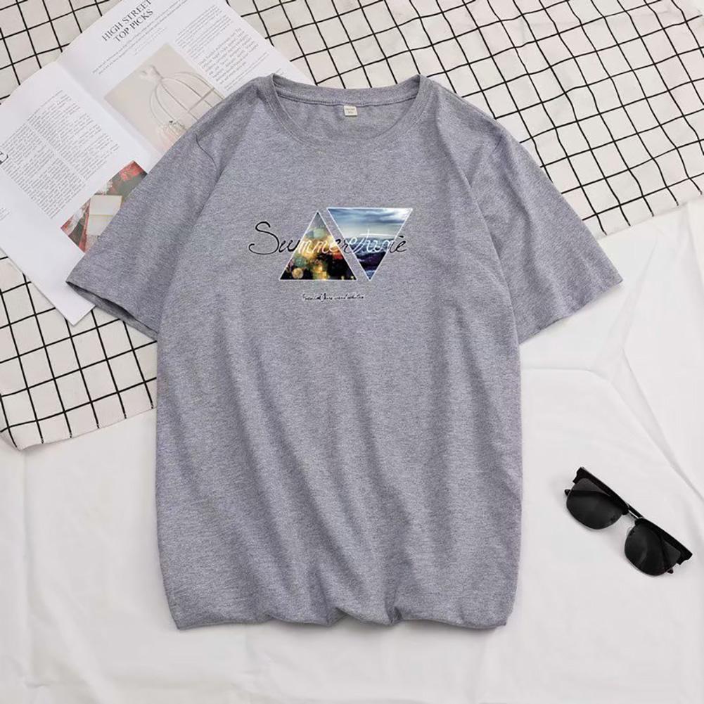 Men Summer Fashion Short-sleeved T-shirt Round Neckline Loose Printed Cotton Bottoming Top M_614 gray