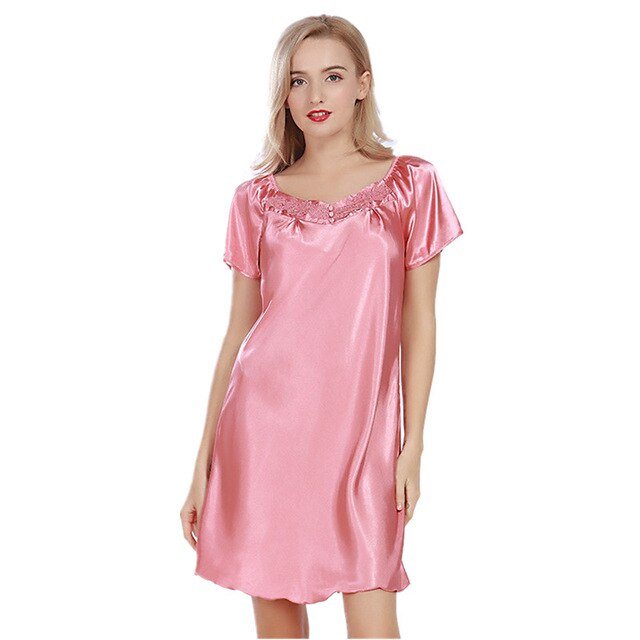 Summer Mini Sleepwear Women Short Sleeve Square Collar Nightgowns 2017 New Vintage Home Dress For Lady Night Gown Female SY25