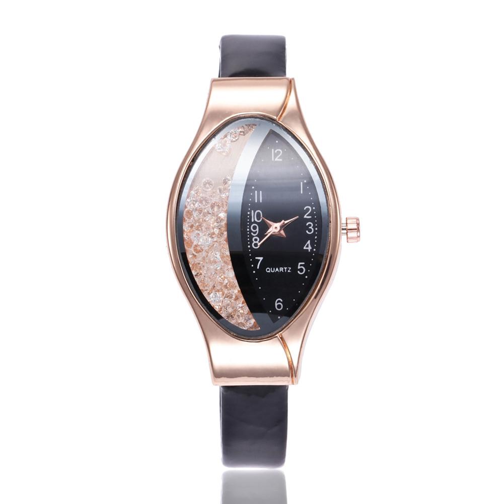 Women Fashion Imitation Leather Band Rolling Ball Oval Quicksand Quartz Watch black