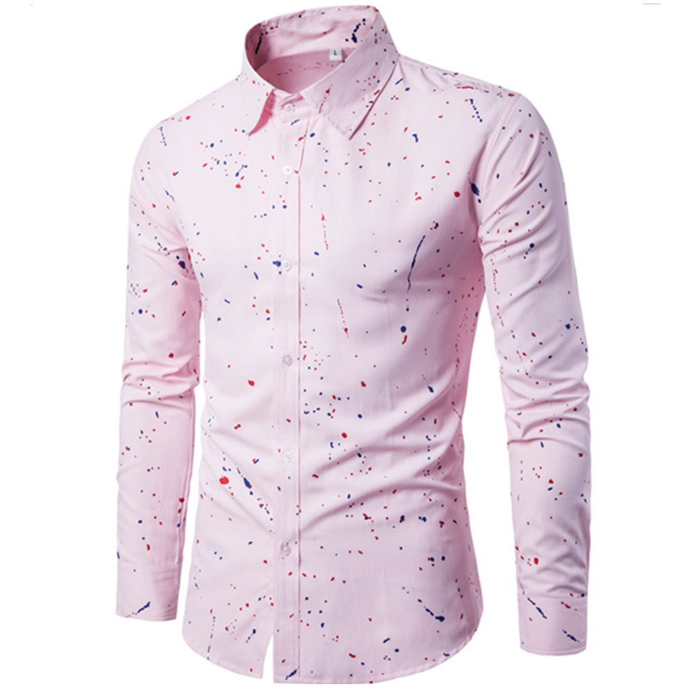 Man Single-breasted Leisure Shirt Long Sleeves and Lapel Cardigan Top with Floral Printed Pink_XL