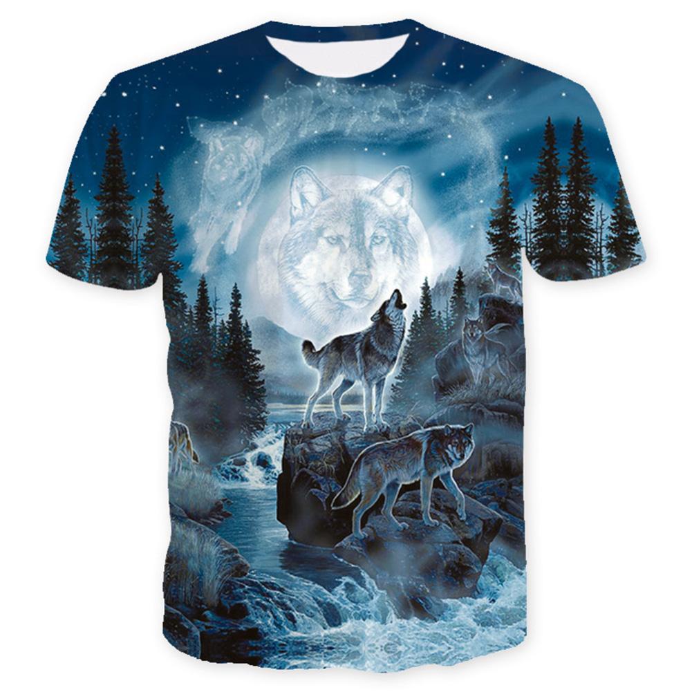 Unisex 3D Digital Printed Snow Wolf Pattern Short-sleeved Shirt as shown_XXL