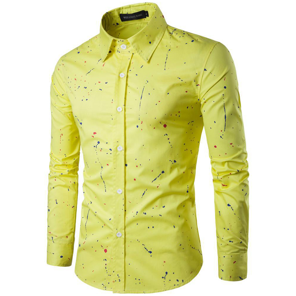 Man Single-breasted Leisure Shirt Long Sleeves and Lapel Cardigan Top with Floral Printed yellow_L