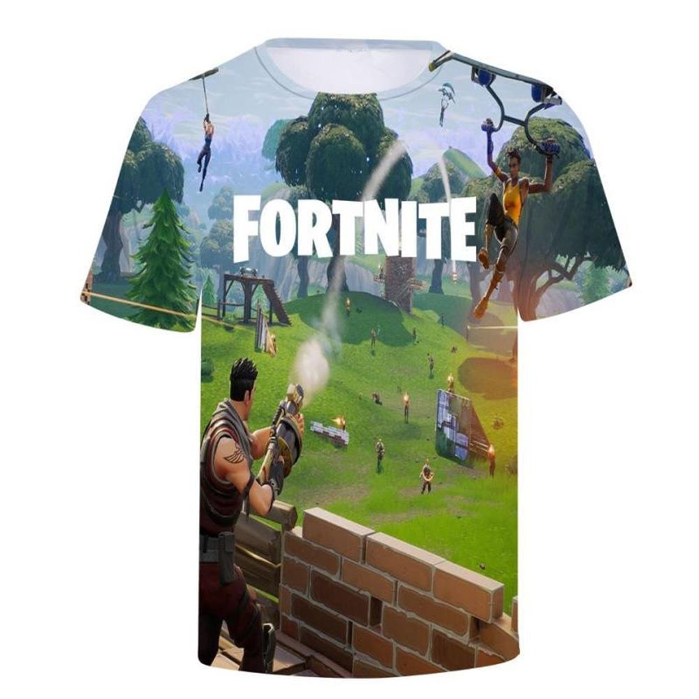 Unisex 3D Digital Printed Game Pattern Short-sleeved Shirt as shown _M