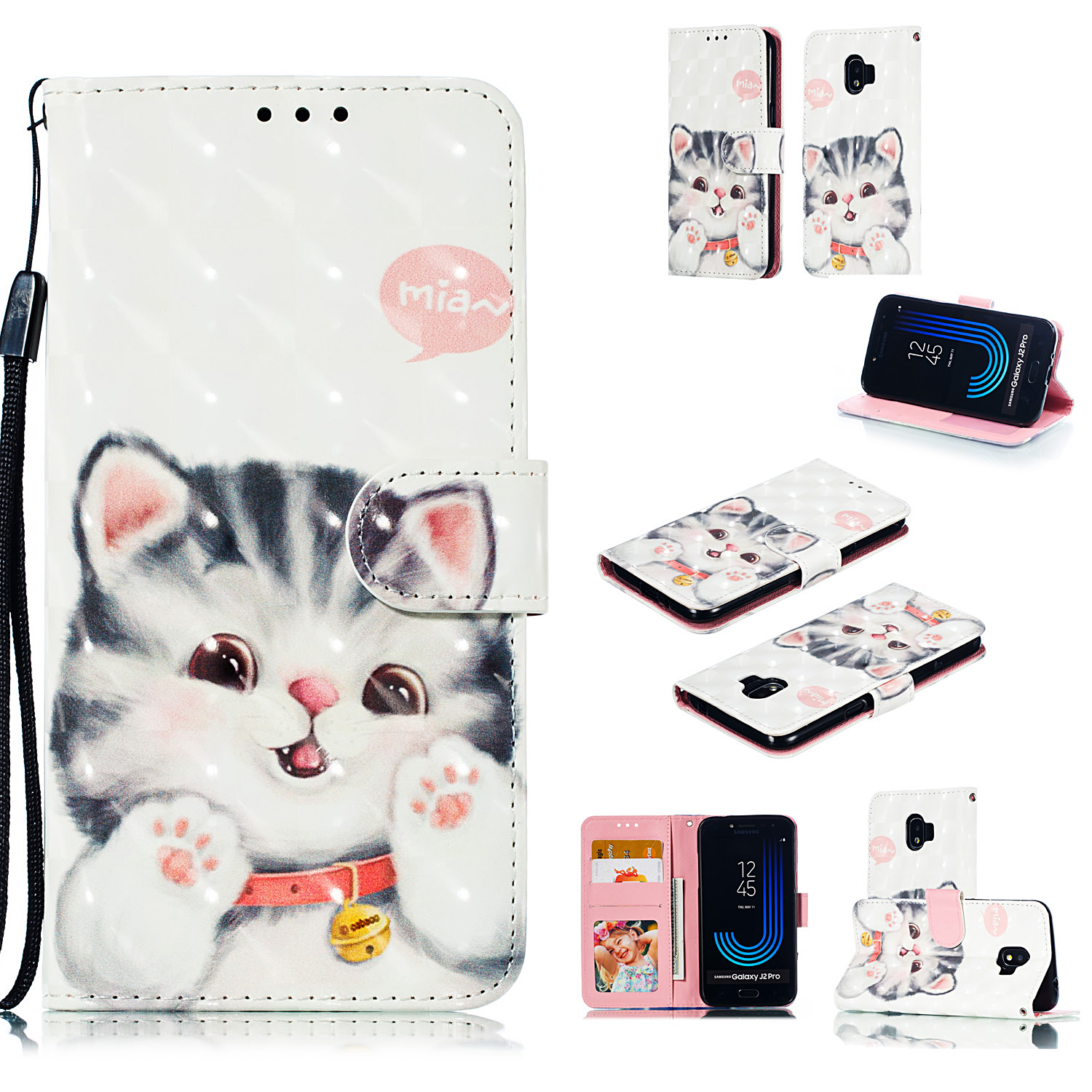 For Samsung J2 pro 2018 3D Coloured Painted PU Magnetic Clasp Wallet Phone Case with Bracket Lanyard Jingle cat