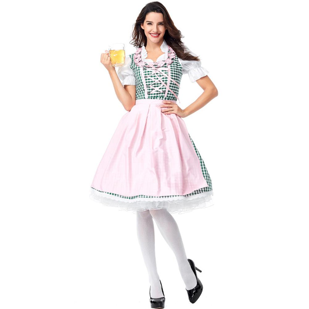 Women Maids Style Green Plaid Halloween Cosplay Bar Dress for Oktoberfest Green plaid_XL