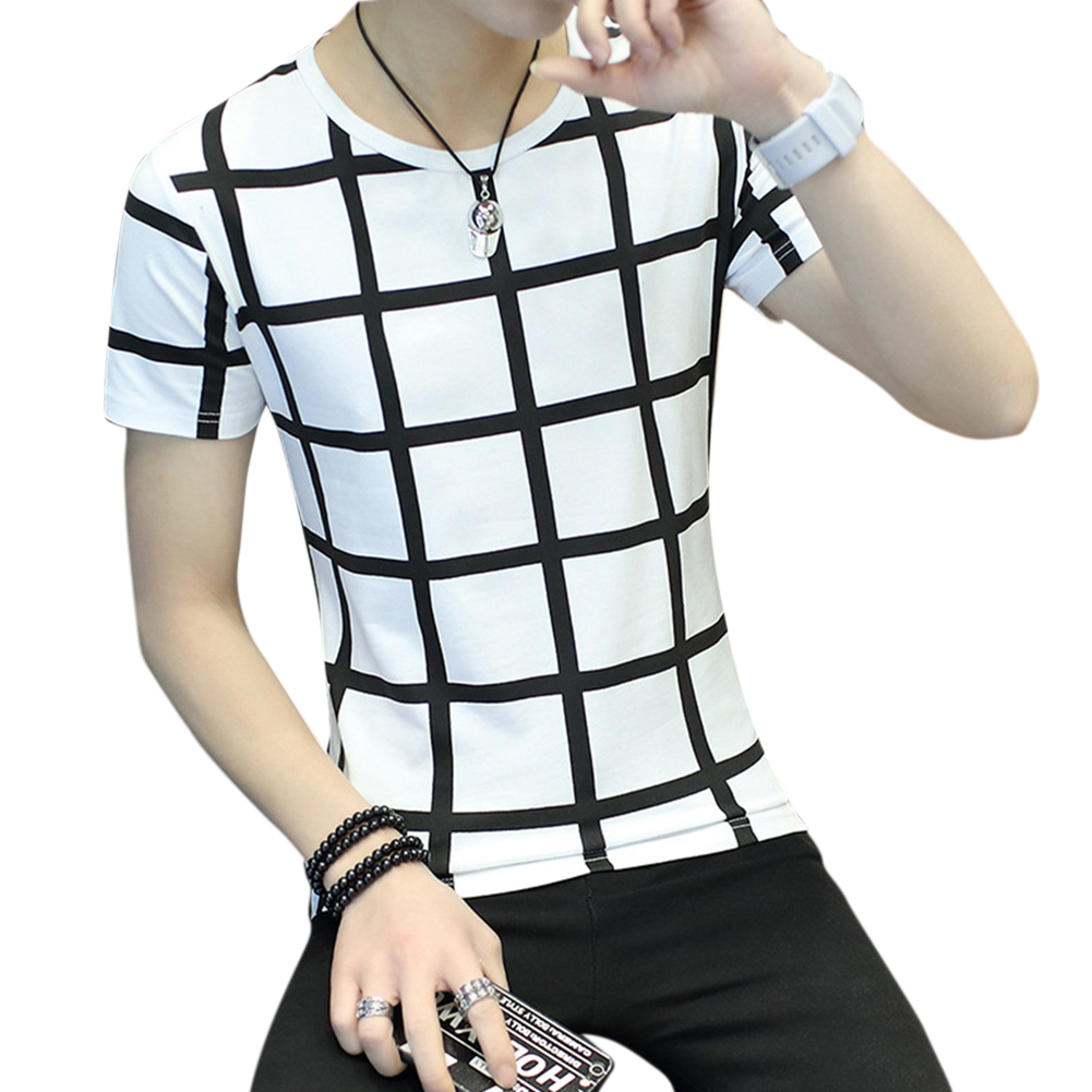 Men Fashion Youth Round Neck Short-sleeved T-shirt Plaid Pattern Tops Plaid white_M