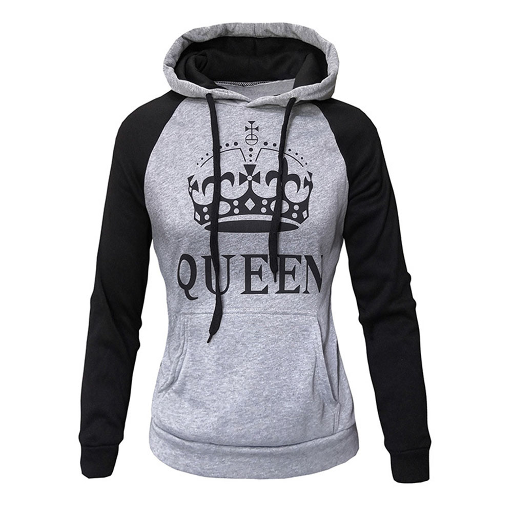Wen and Women Couple Hooded Black and White Loose Pullover Shirt Light gray - QUEEN_L