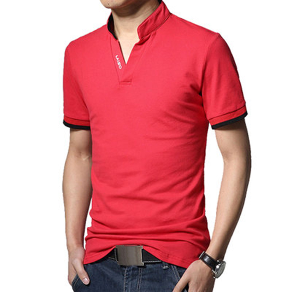 Men Casual Solid Color Cuff Stripe Pattern Standing Collar Shirt red_2XL