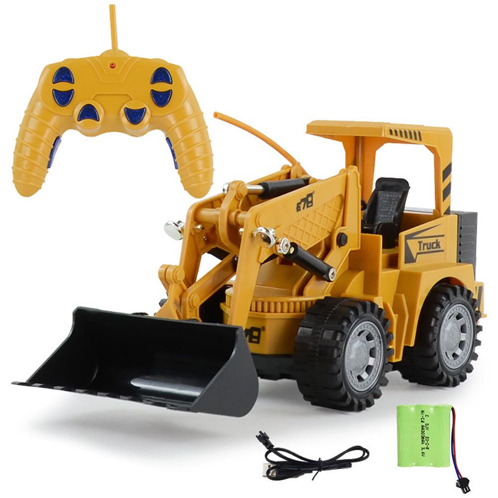 RC Excavator Toy - Hours of Fun with Fully Functional Remote Control Front Loader Tractor - Scoop, Load, Carry and Dump Sand, Dirt, Rocks, Beans  yellow