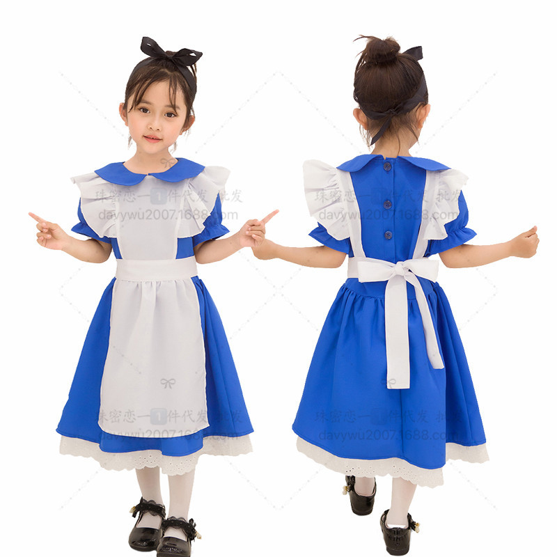 Children Kids Dress Maid Cosplay Cute Dress for Halloween Festival Wearing blue_L