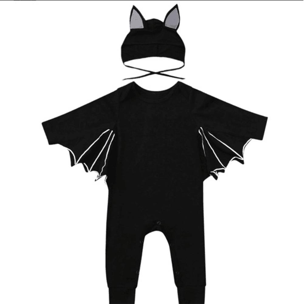 Baby Infant Bat Shape Cartoon Romper + Cap Set Halloween Costume black_70cm