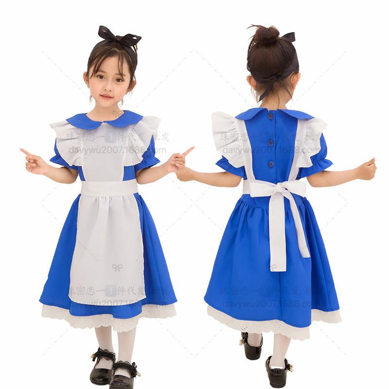 Children Kids Dress Maid Cosplay Cute Dress for Halloween Festival Wearing blue_M