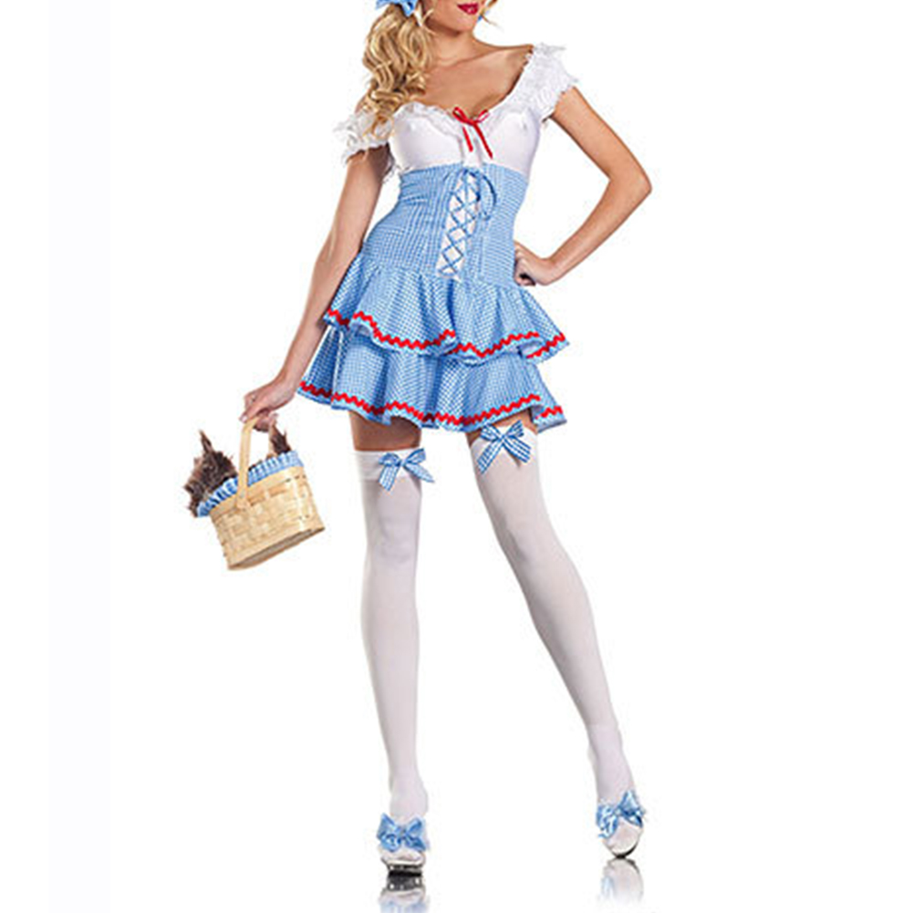 Women Sweet Style Plaid Printing Dress Cosplay Housemaid Costumes for Oktoberfest Halloween Party blue_One size