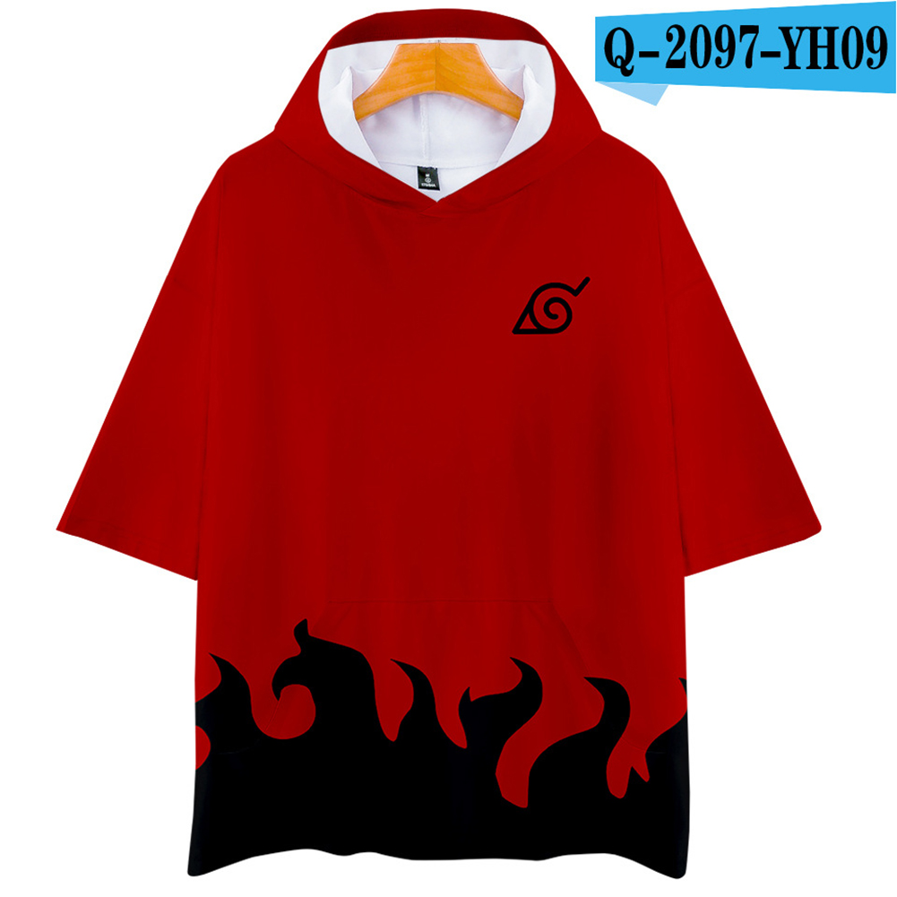Unisex Fashion Naruto Digital Print 3D Short-sleeved T-shirt Hooded Tops Q-2097-YH09 red_XL
