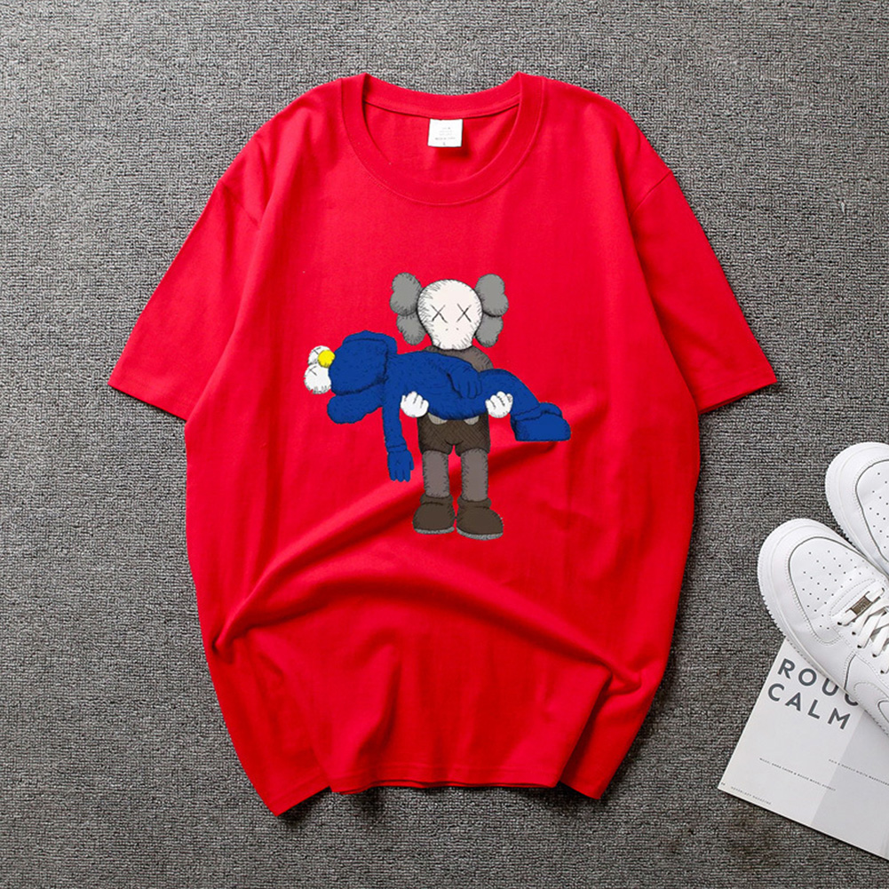 Boy Girl KAWS T-shirt Cartoon Holding Doll Crew Neck Couple Student Loose Pullover Tops Red_XL