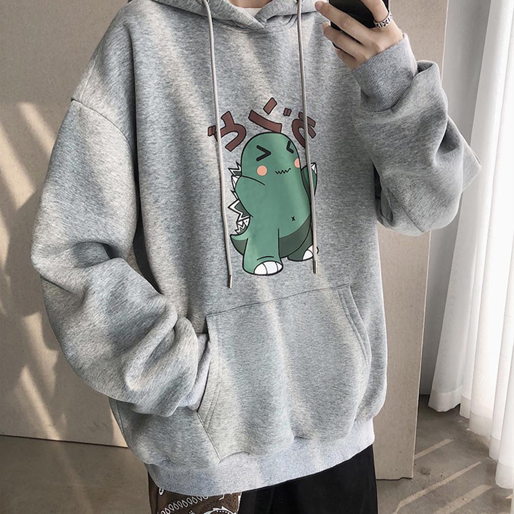 Men Hip-hop Hoodie Sweatshirt Autumn Winter Cartoon Animal Couple Loose Casual Pullover Tops gray_XXL