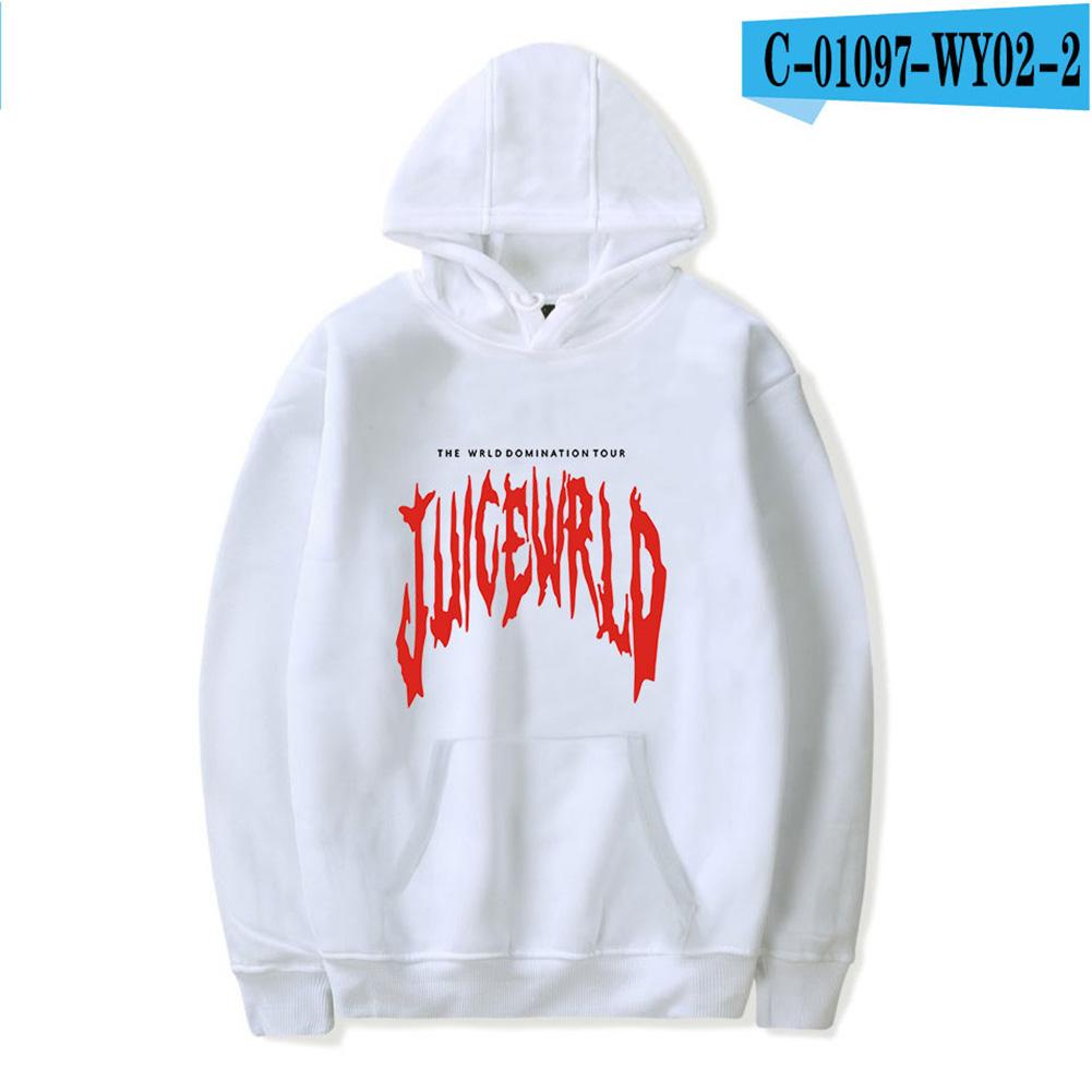 Men Women Hoodie Sweatshirt Juice WRLD Letter Printing Loose Autumn Winter Pullover Tops White_XXL