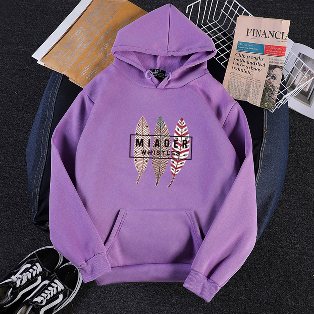Men Women Hoodies Oversize Sweatshirt Loose Thicken Plush Autumn Winter Pullover Purple_L