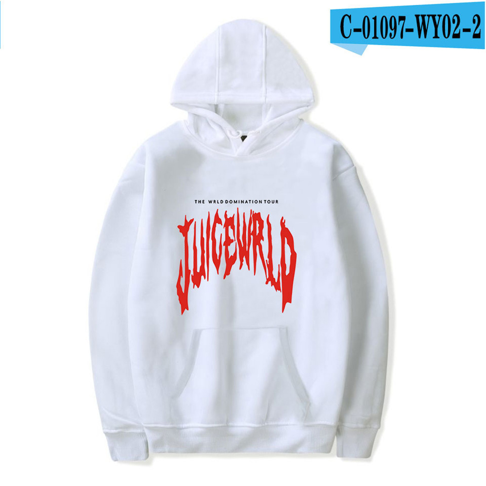 Men Women Hoodie Sweatshirt Juice WRLD Letter Printing Loose Autumn Winter Pullover Tops White_L
