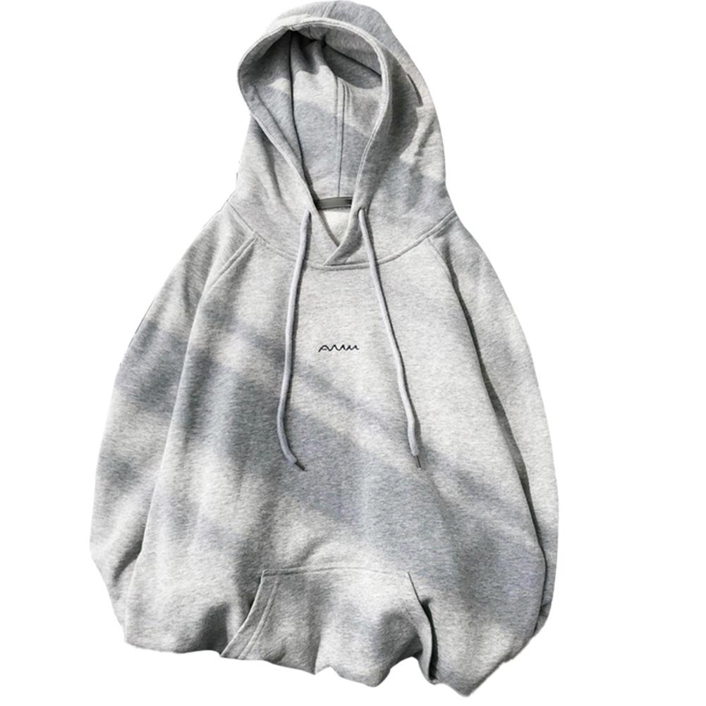 Men Women Hoodie Sweatshirt Printing Letter Spring Autumn Loose Pullover Tops Gray_L